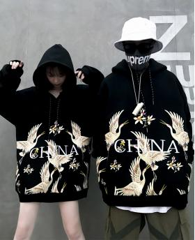 Fashion fairy embroidery hoodie hip hop couples hooded sweater bf jacket