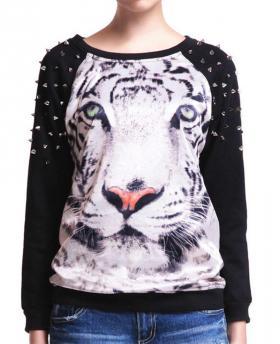 Tiger Pattern Handmade Beading Loose Sweatshirt