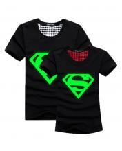 Green Fluorescence Super Man Pattern Lovers T-Shirt