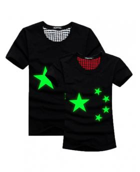 Green Fluorescence Stars Lovers T-Shirt