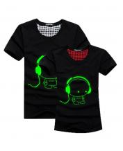Green Fluorescence Cute Headphone Pattern Lovers T-Shirt