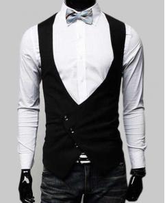 Fashion Men's Slim Big V-neck Vest