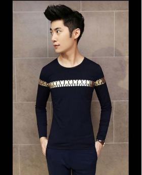 Fashion Men's Slim Fit Long Sleeve Gold Stamping Tops