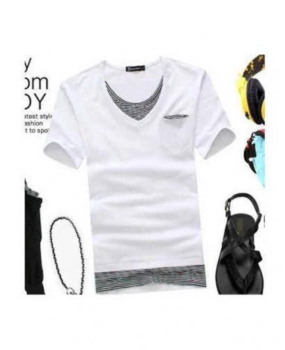 Men's Stripe Fake Two-Piece V-neck T-shirt