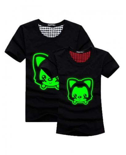 Green Fluorescence Cute Fox Pattern Lovers T-Shirt