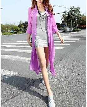 Europe Vacation Style Aristocratic Temperament Long Chiffon Sunscreen Coat