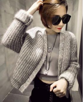Winter Fashion Retro All Match Coarse Needle Knitting Mixed Colors Plush Sweater