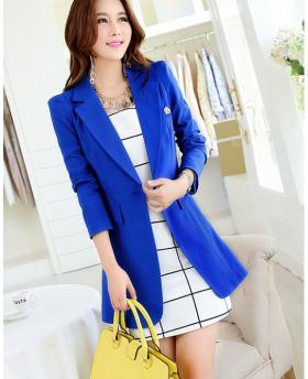 Women's Long Style Pink Blue and Black Blazer