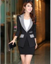 WOMEN'S COLOR STITCHING LONG SLEEVE SLIM BLAZER