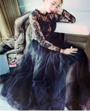 Europe Style Black Swan Sexy Perspective Lace Extend Long Dress