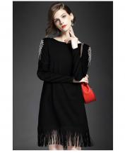 Fashion Special Wings Design Long Sleeve Oversize Tassel Dress