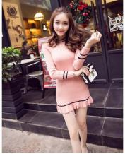 Fashion Women's Mixed Colores Long Sleeve Slim Knit Dress