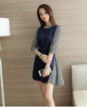 New Women's Temperament Long-sleeved Striped Color Stitching Dress