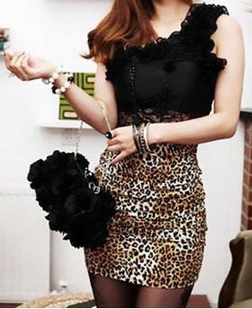 Fashion One Shoulder Lace Leopard Animal Patchwork Dress