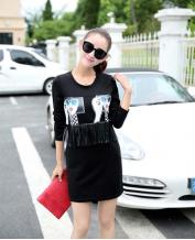 Women's Long Sleeve Printing Stitching Dress