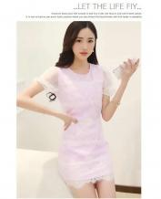 Asian Clothes Elegant Stitching Purple Lace Chiffon Dress