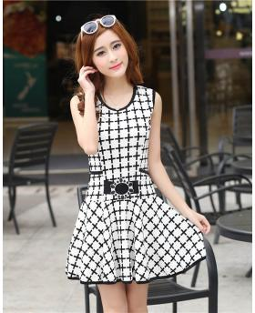 Korean Special Pattern Sleeveless Dress