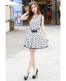 Korean Special Dots Pattern Sleeveless Dress