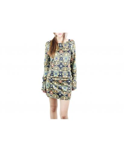 Women's Baroque Printing Package Hip Slim Dress
