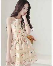 Women's Slim Floral Lace Chiffon Dress, Princess Dress