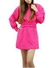 Women's Rose Red Sleeping Wear Look Long Sleeve Dress