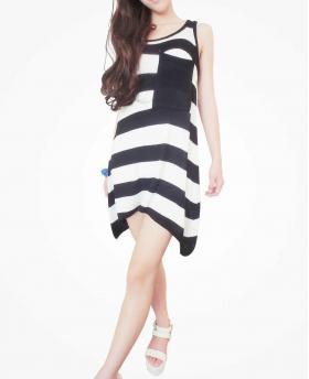 Irregular Stripes Casual Dress