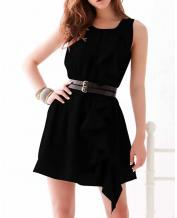Women's Fashion Sleeveless Ruffled Black Dress