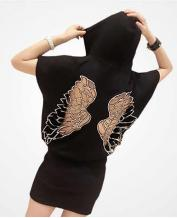 Fashion Wings Hollow-out Hooded Dress