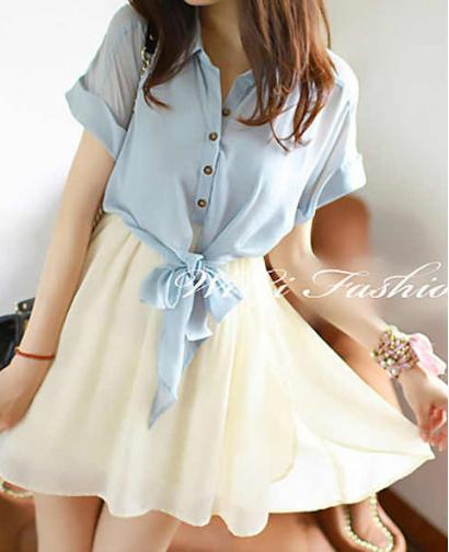 Women Clothes Fake Two-piece Chiffon Dress