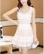 Women Clothes Hand Made Bead Slim Lace Pink Dress