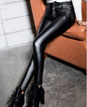 Fashion Fall and Winter High Waist Matt Leather Pants