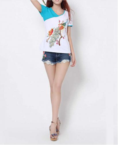 Women's Lace Embroidered Denim All-match Shorts