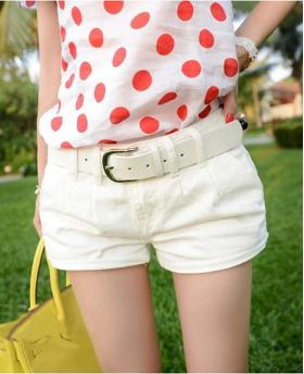 New Simple White Cotton Denim Shorts