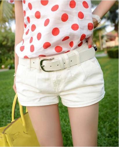 New Simple White Cotton Denim Shorts