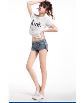 Slim Crimping Side Zipper Holes Denim Shorts