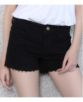 New Black and White Cotton Denim Shorts