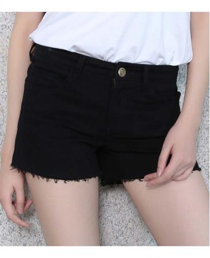 New Black and White Cotton Denim Shorts