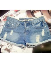 Women's Unique Washed Denim Shorts