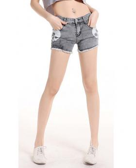 Slim Elastic Skull Denim Shorts