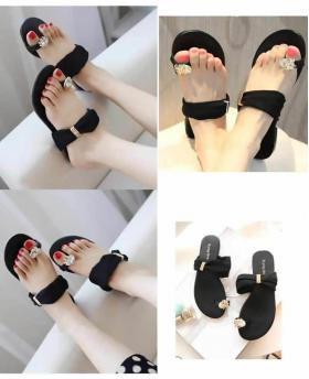 RETRO FLAT CHIFFON BIG DRILL SLIPPERS