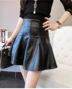 Women's Fashion High Waist Leather Skirt