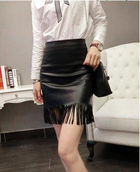 Women's Fashion Pencil Tassel Leather Skirt