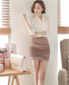 Sexy Office Lady Style Chiffon Mini Skirt 2 Pieces