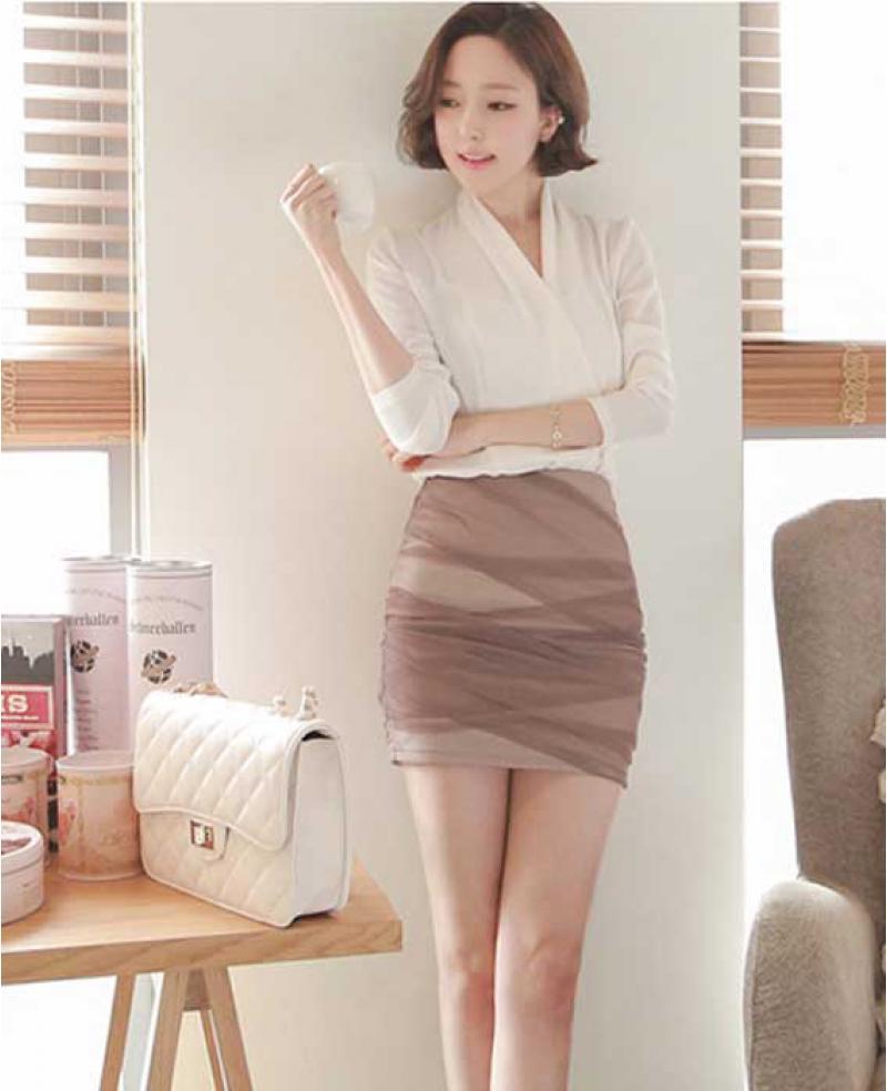 Sexy Office Lady Style Chiffon Mini Skirt 2 Pieces Wegee