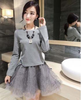 Korean Fashion Long Sleeve Top + High Waist Skirt 2 Pieces