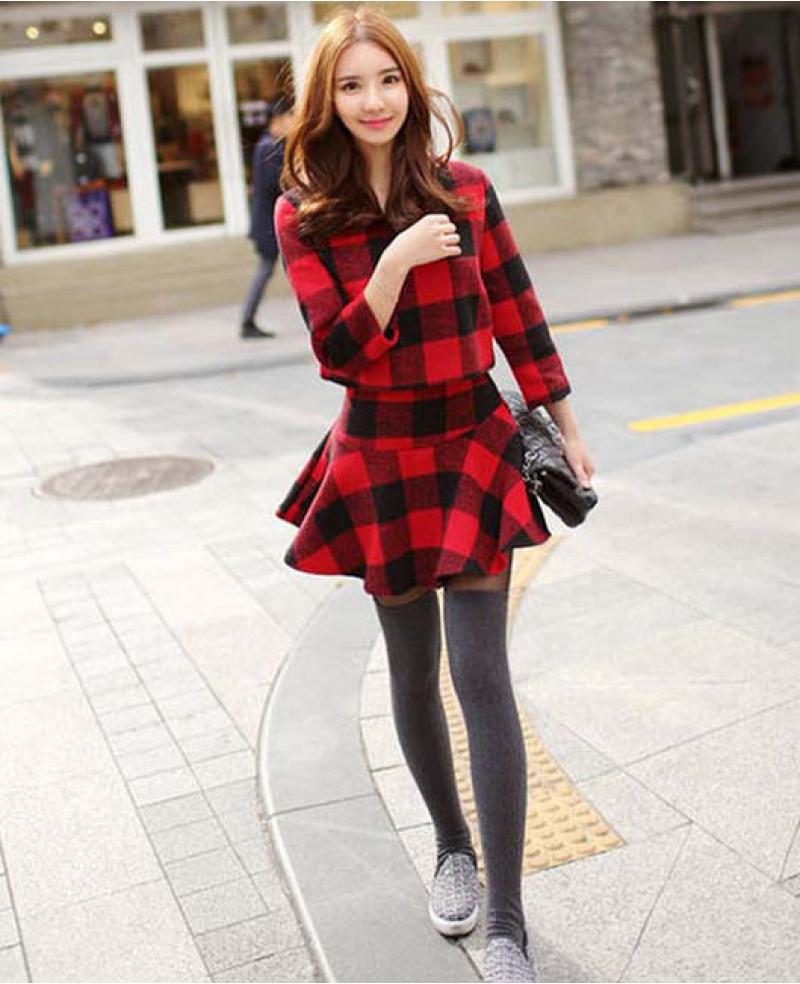 03c1686ce84 Korean Winter Fashion Women s Grid Style Top + Skirt (2 Pieces) ...