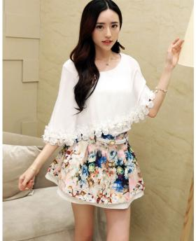 Korean Sunscreen Floral Women's Set (include top and skirt)