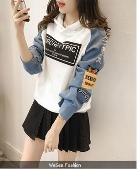 Fashion Students Style Holes Loose Denim Hoodies