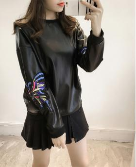 Fashion Women's 3D Butterfly Embroidery Leather Sweater