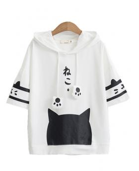 Women's Fashion Cute Loose T-shirt Slim Hoodies - White 3/4 Sleeve